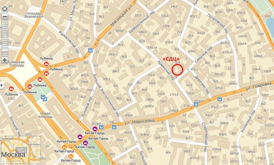 Офис «СДЦ» в Москве. Карта с сайта maps.yandex.ru