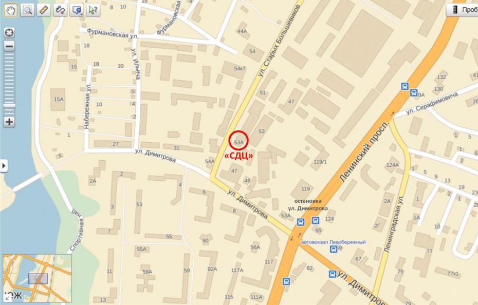 Офис «СДЦ» в Воронеже. Карта с сайта maps.yandex.ru