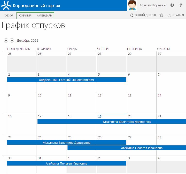 График отпусков. Календарь