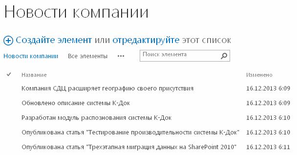 Рисунок 2. Список «Новости компании»